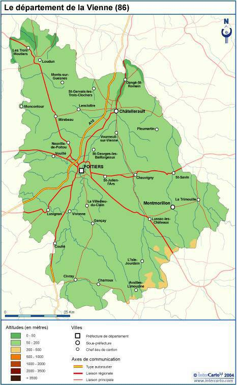 Carte du relief de la Vienne (département 86)