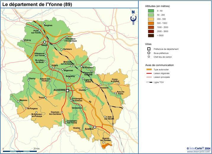 Carte du relief de l'Yonne