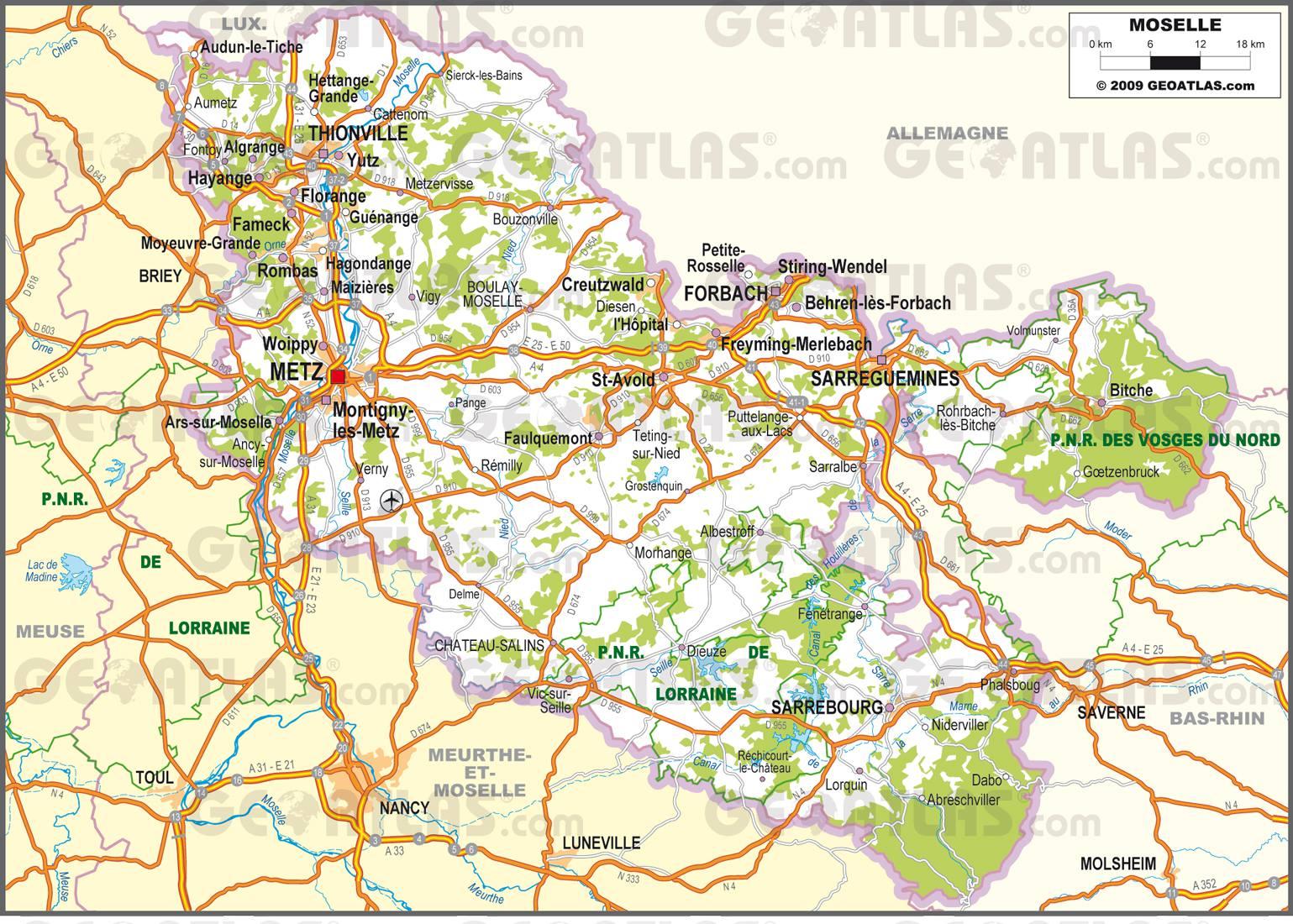 Carte routière de la Moselle
