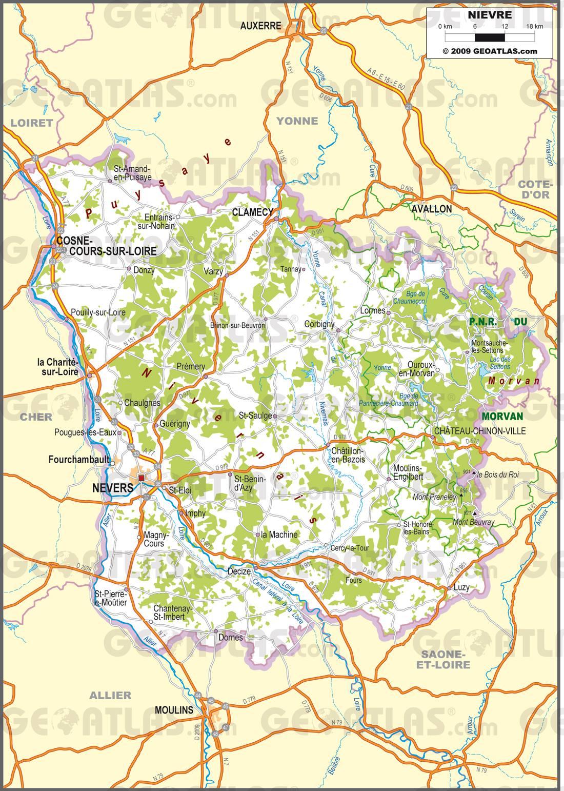Carte routière de la Nièvre