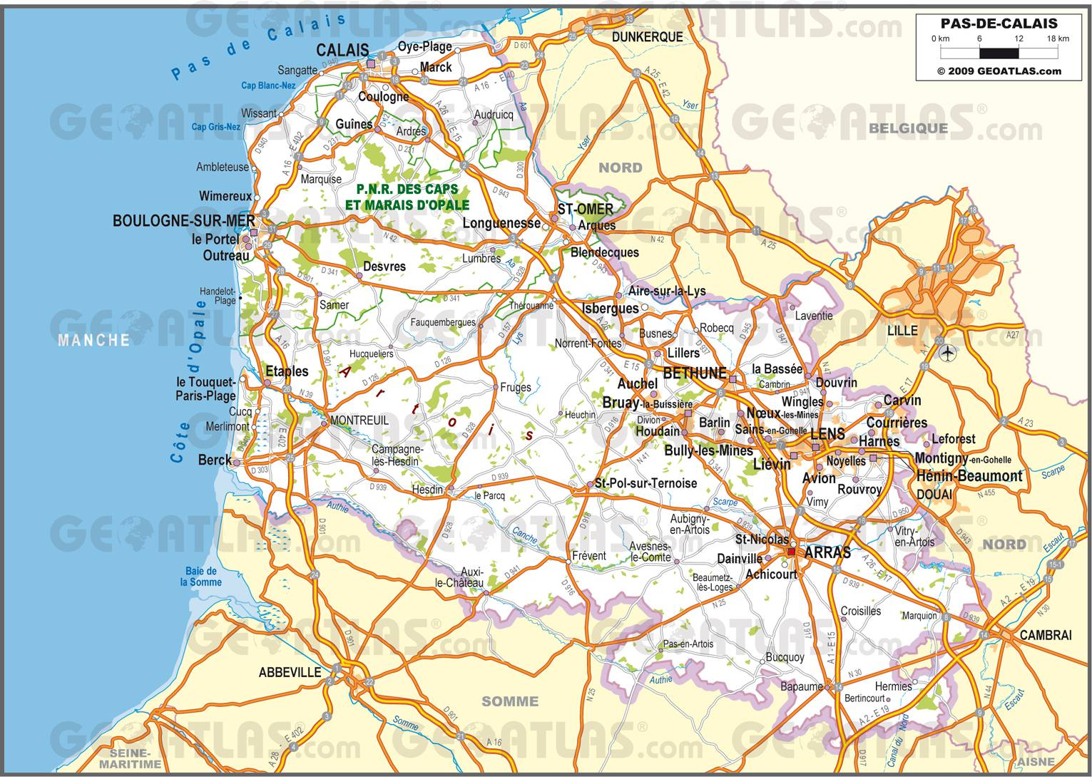 Carte routière du Pas-de-Calais