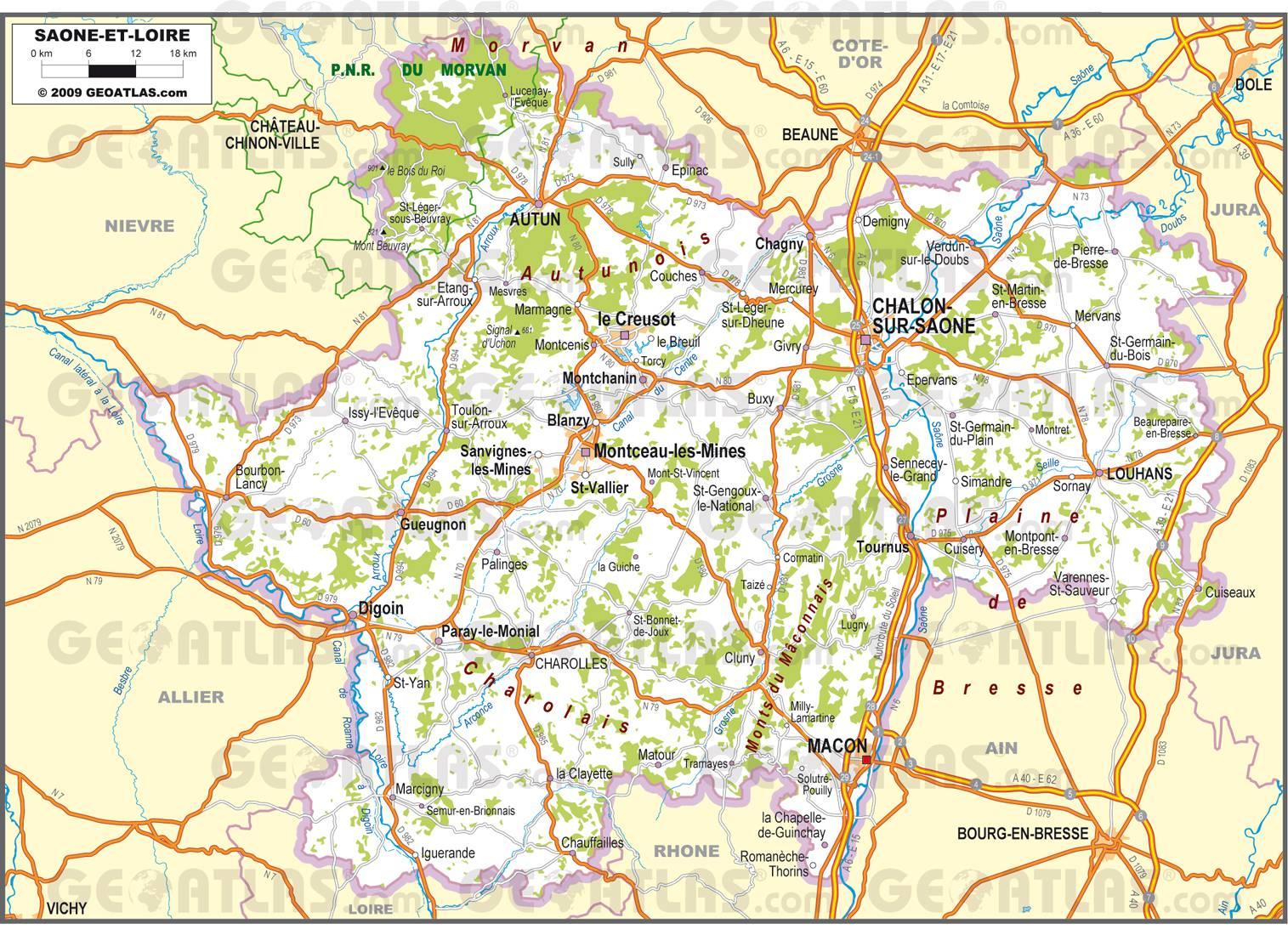 carte geographique saone et loire - Image