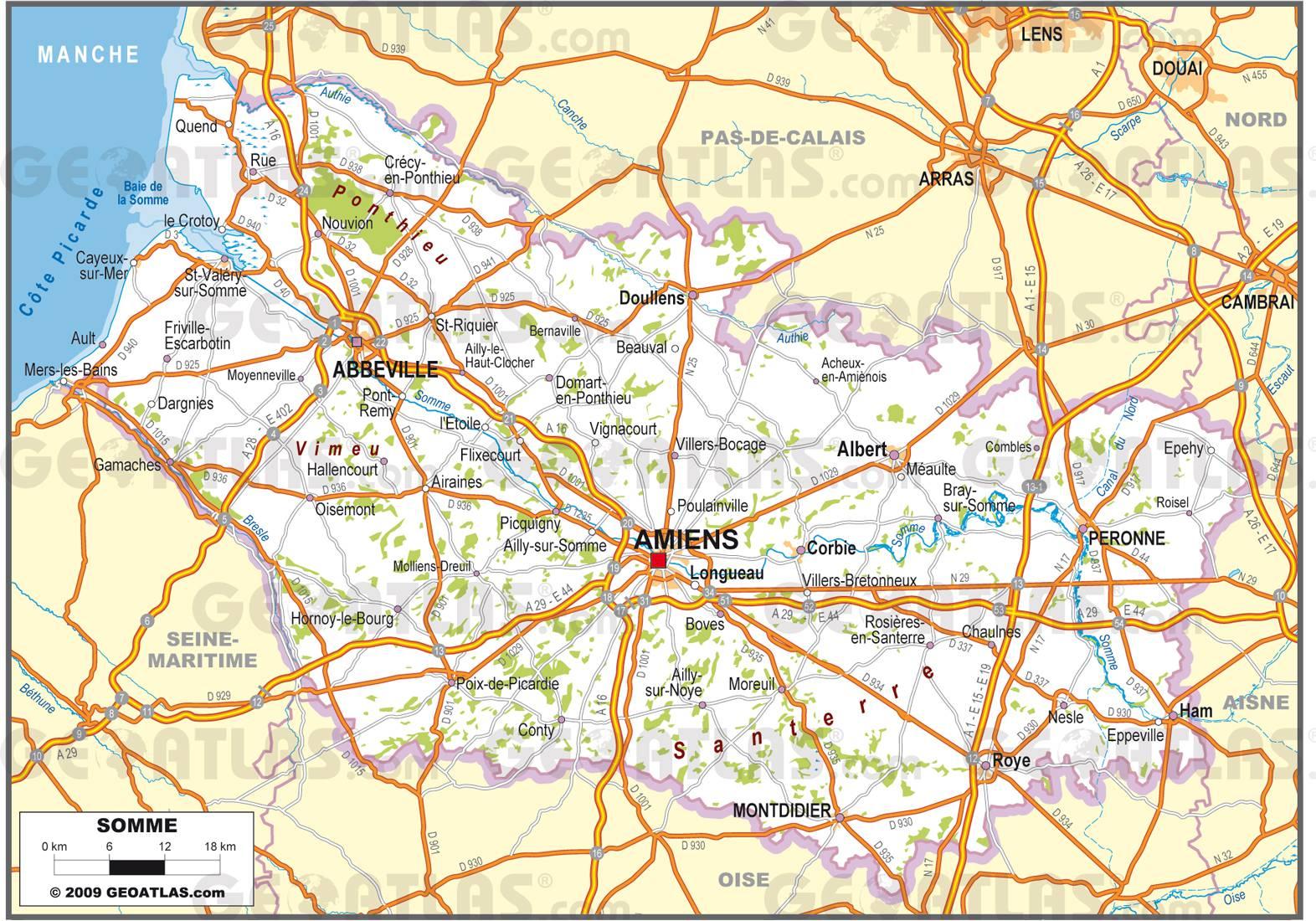 Carte routière de la Somme
