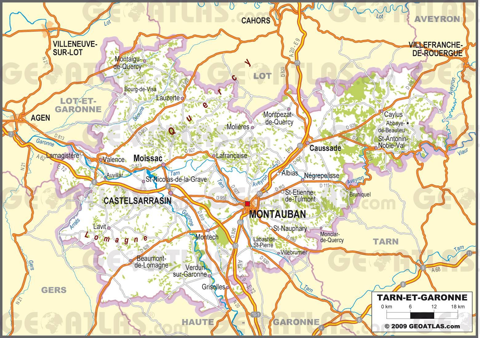 Carte routière du Tarn-et-Garonne