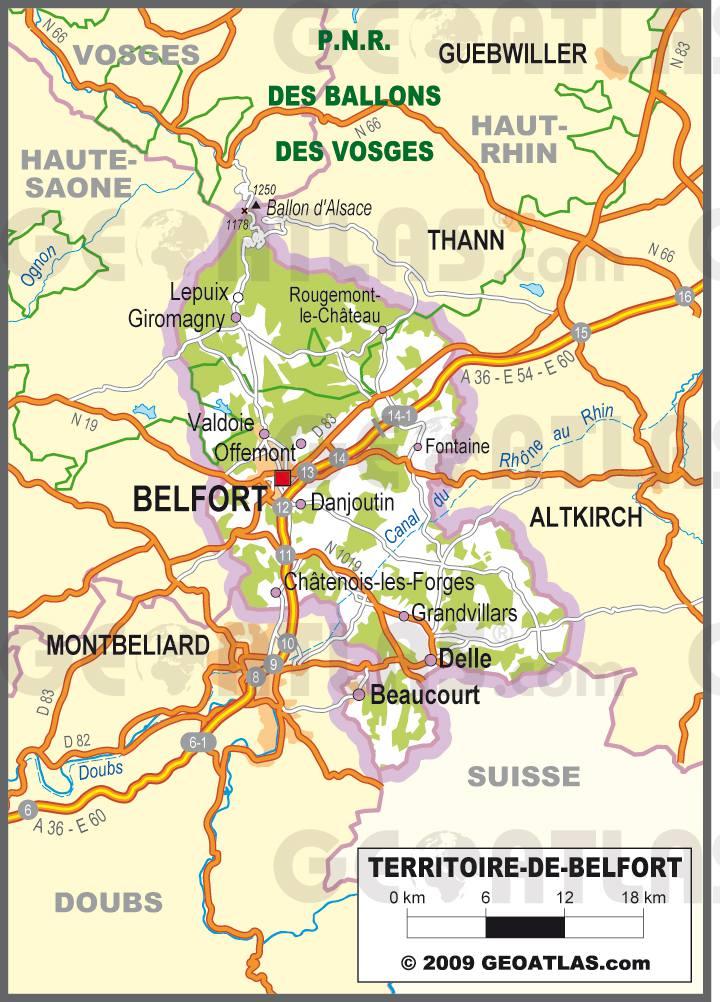 Carte routière du Territoire de Belfort