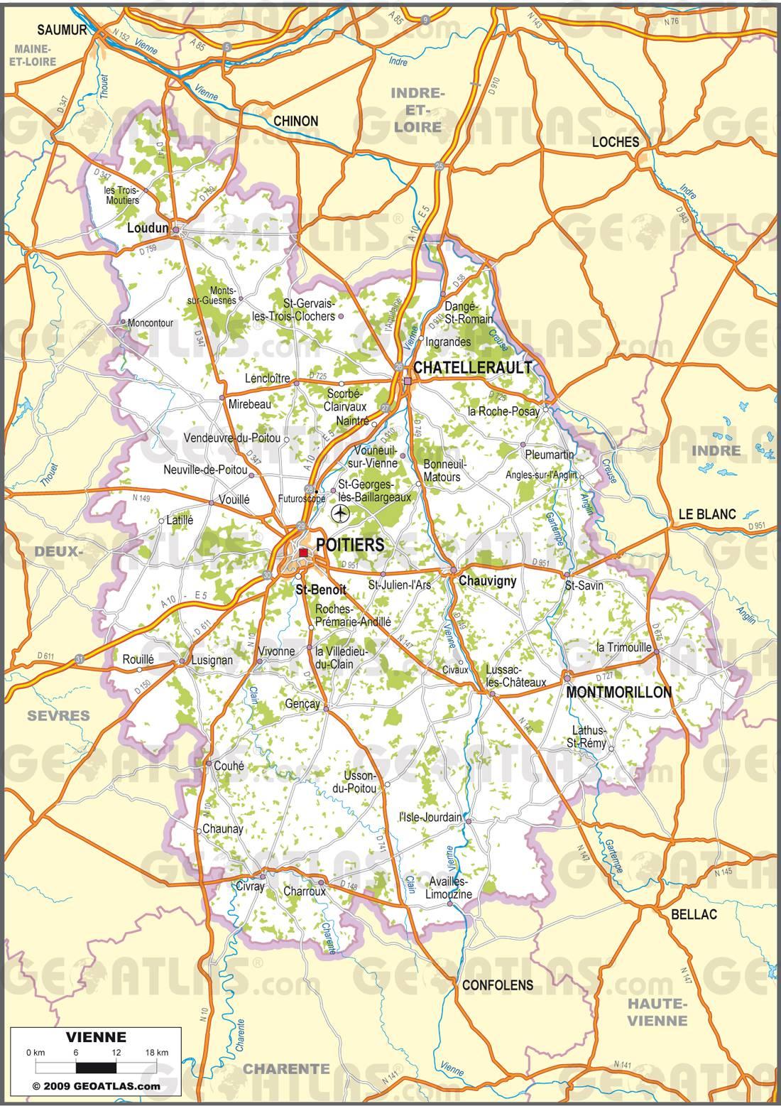 Carte routiere vienne imvt for Plan de la vienne 86000