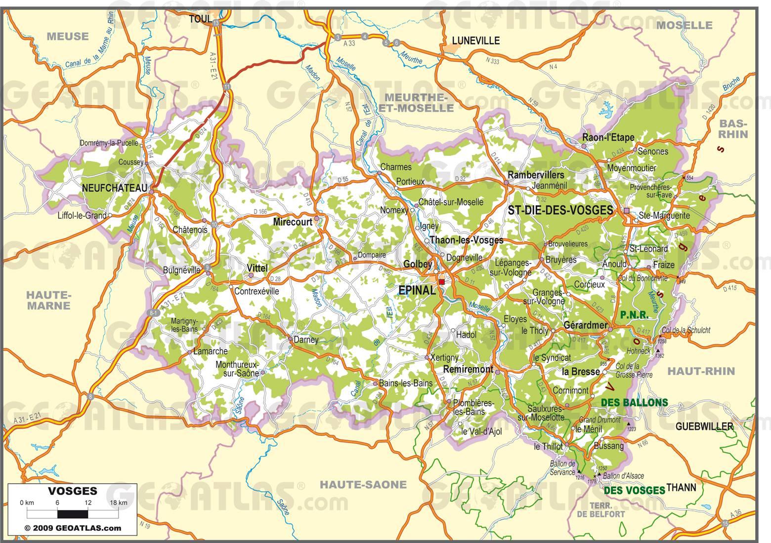 Carte routière des Vosges