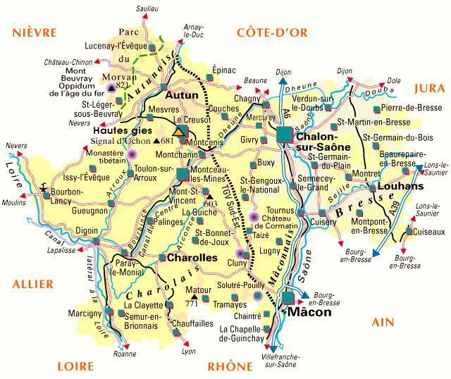 Carte de la Saône-et-Loire - Politique