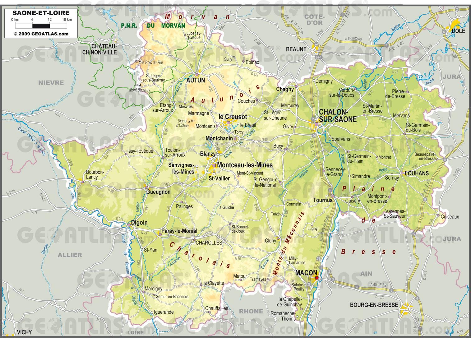 Carte de la Saône-et-Loire