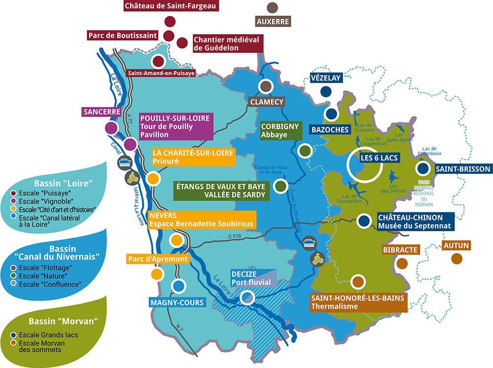 Carte des sites touristiques de la Nièvre