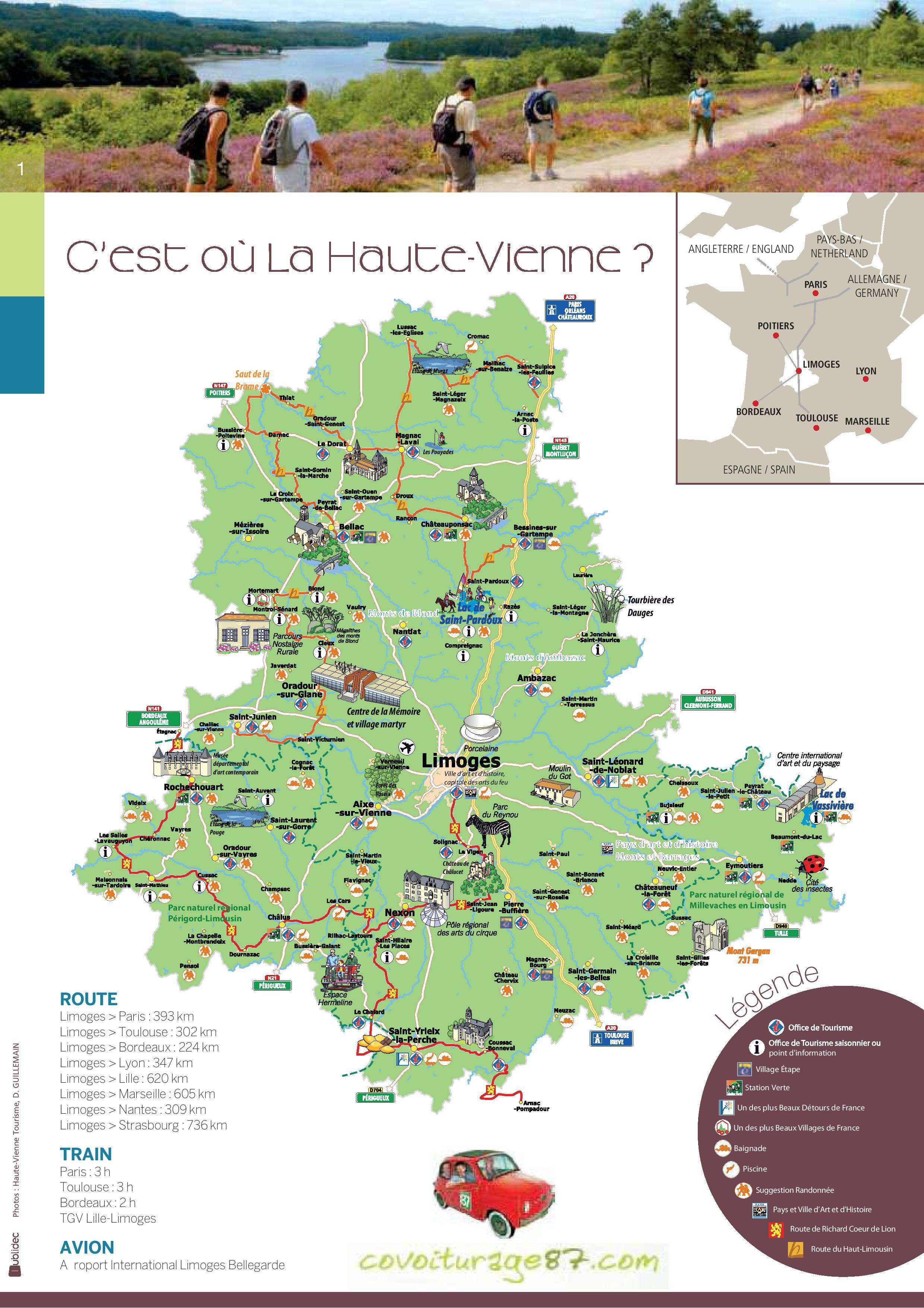 Carte Touristique Haute Vienne.Carte De La Haute Vienne Haute Vienne Carte Du Departement 87