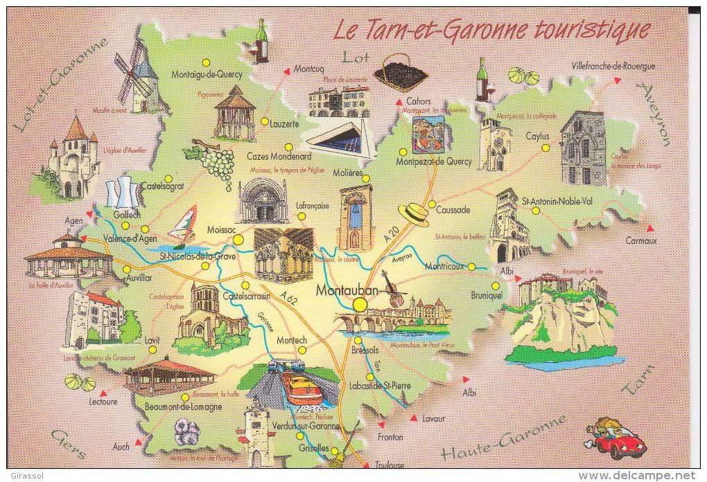 Carte des sites touristiques du Tarn-et-Garonne