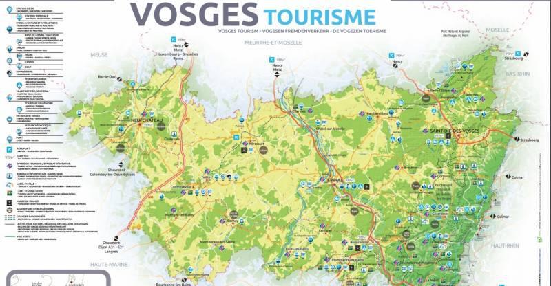 Carte des sites touristiques des Vosges