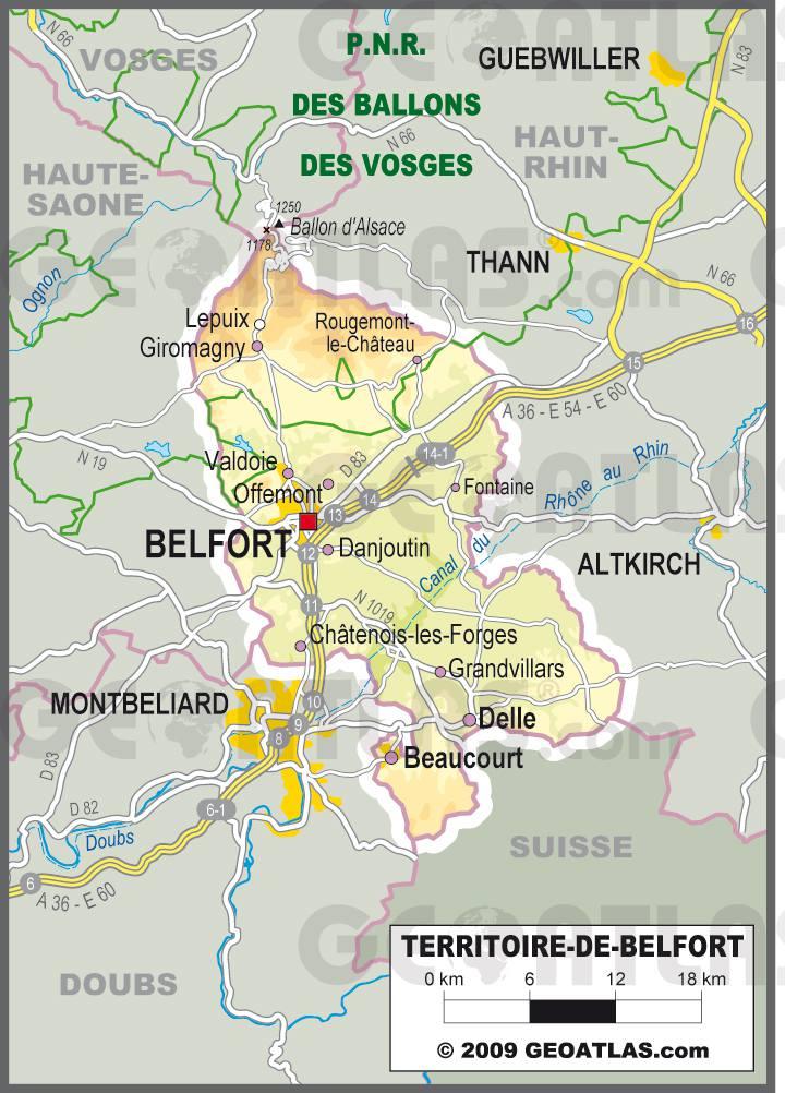 Carte du Territoire de Belfort