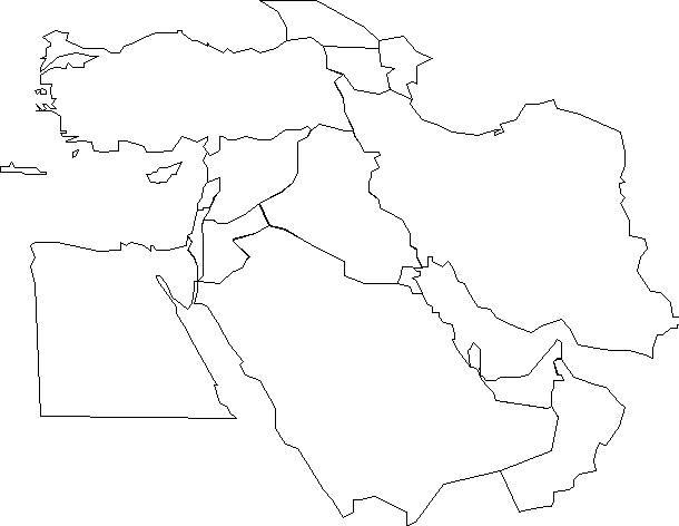Carte vierge du Moyen-Orient