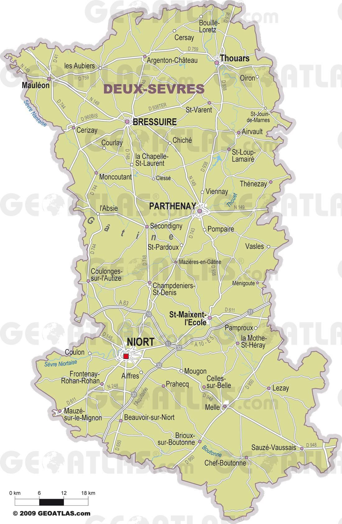 Carte des villes des Deux-Sèvres