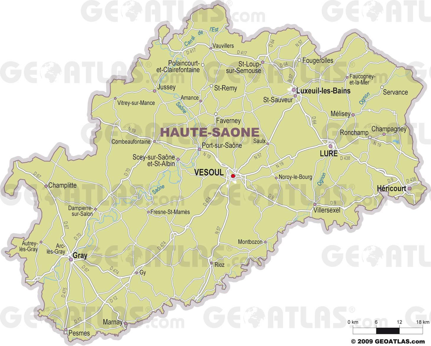 Carte des villes de la Haute-Saône