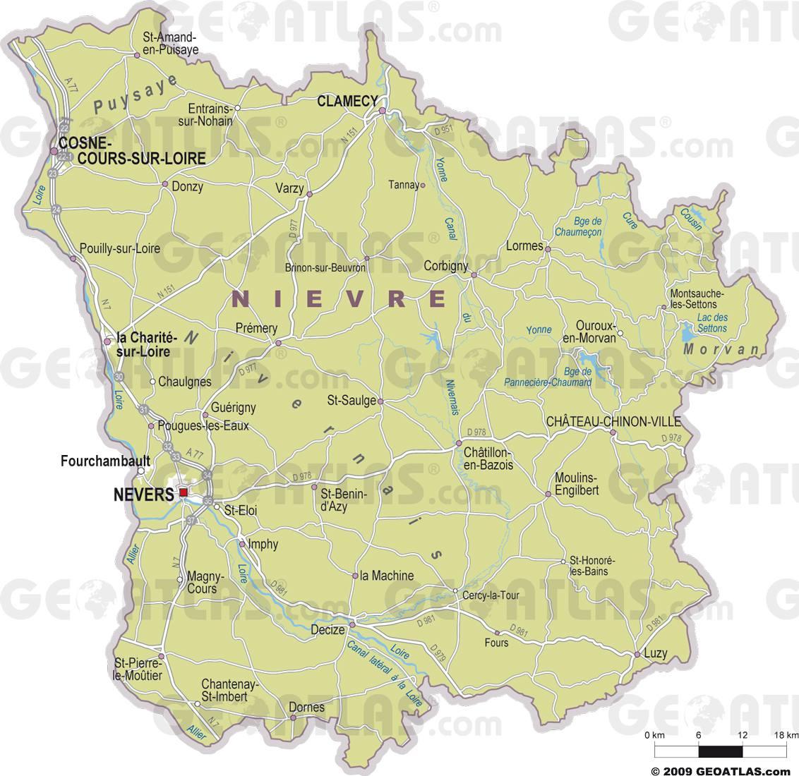 Carte des villes de la Nièvre