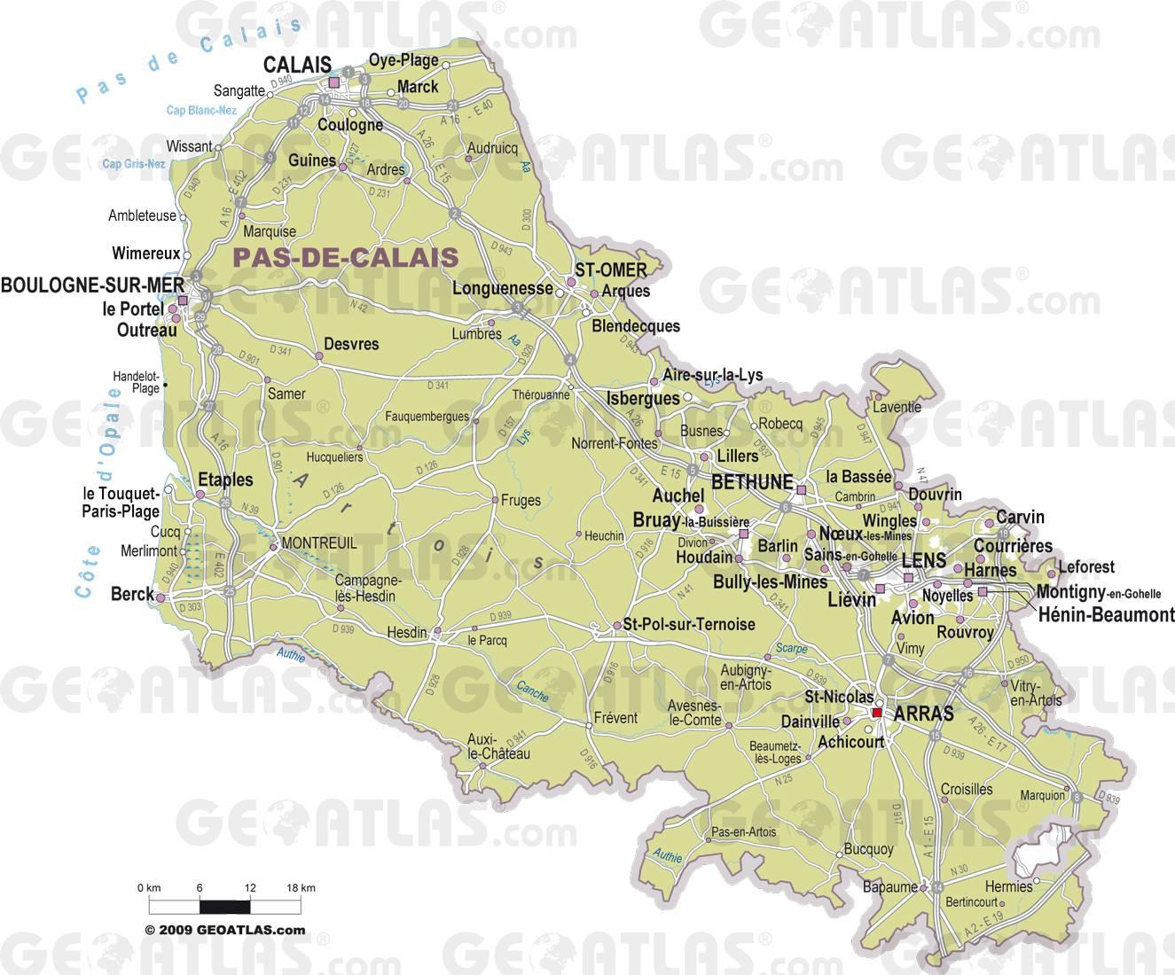 Carte des villes du Pas-de-Calais