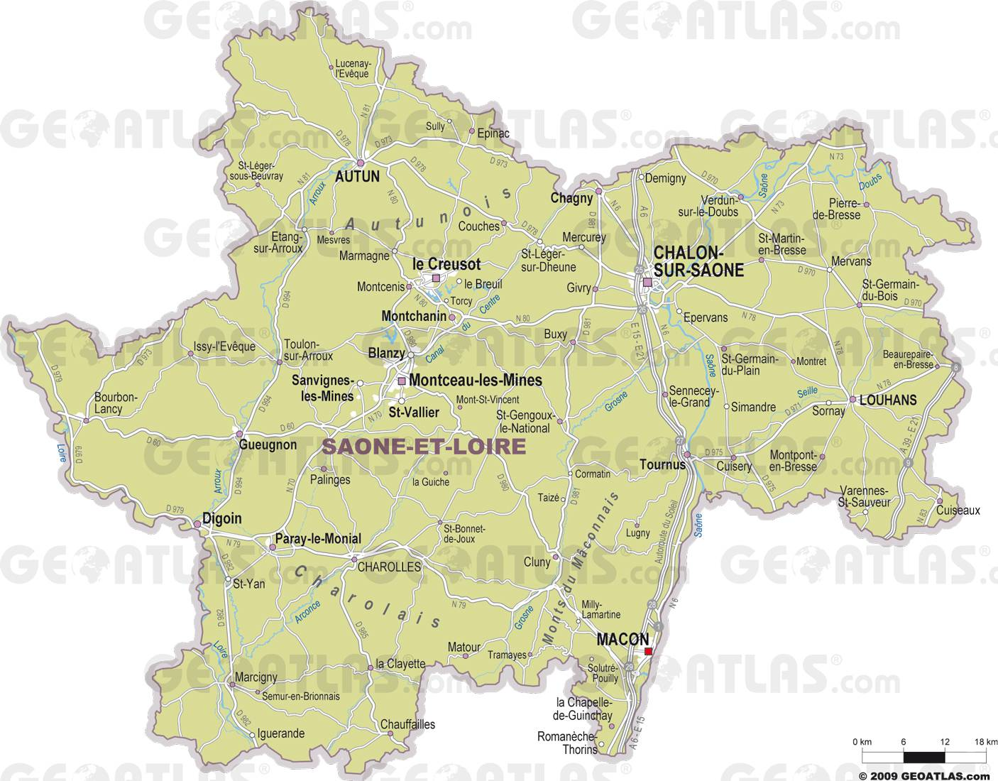 Caret des villes de la Saône-et-Loire