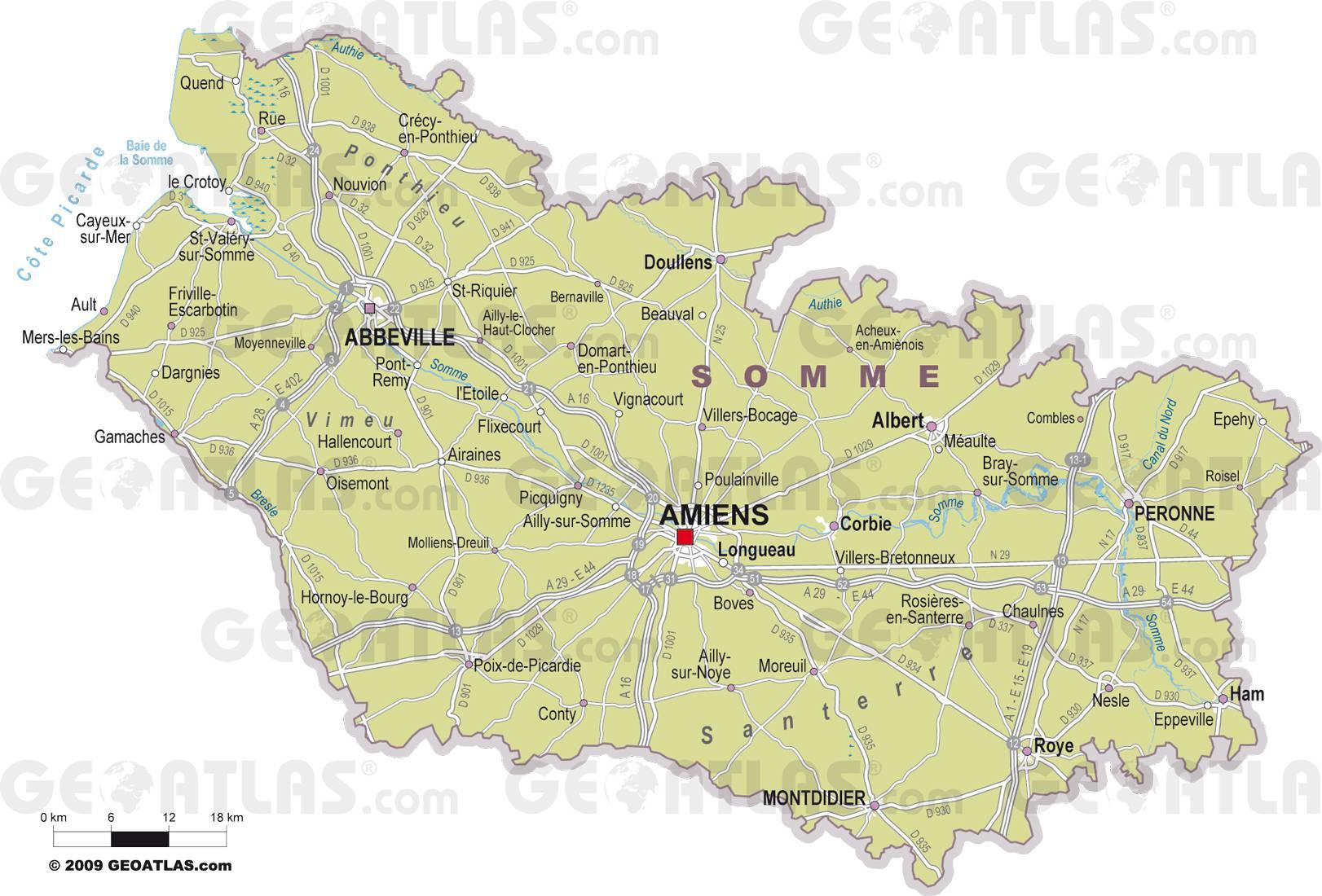Carte des villes de la Somme