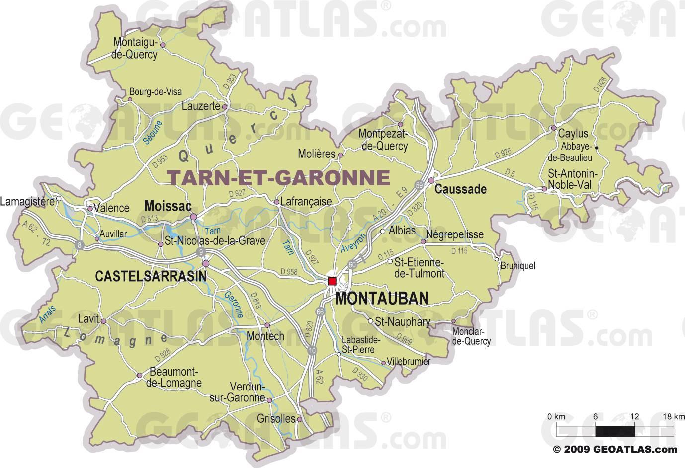Carte des villes du Tarn-et-Garonne