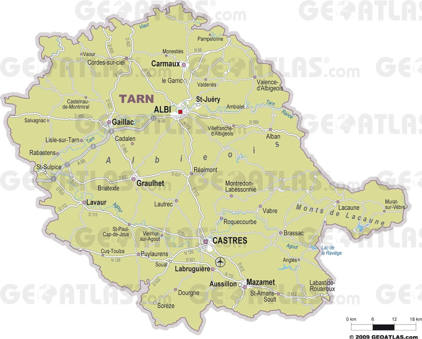 Carte des villes du Tarn