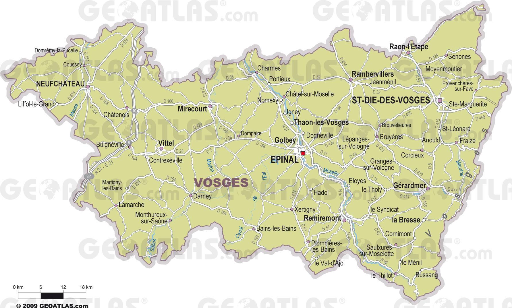 Carte des villes des Vosges