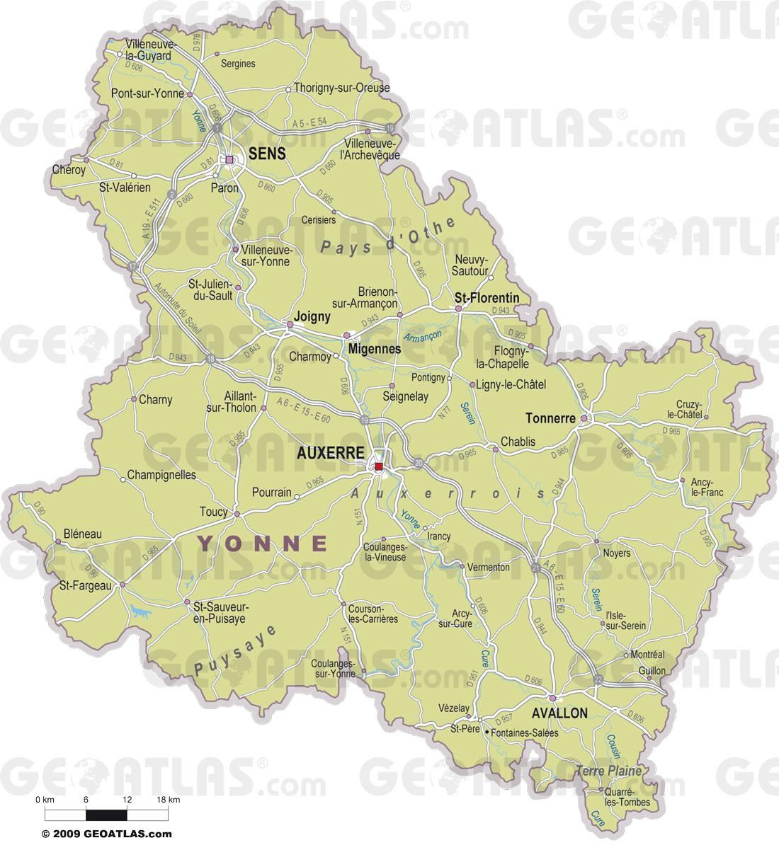 Carte des villes de l'Yonne