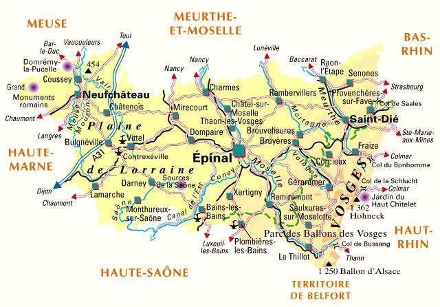 Carte des Vosges - Politique