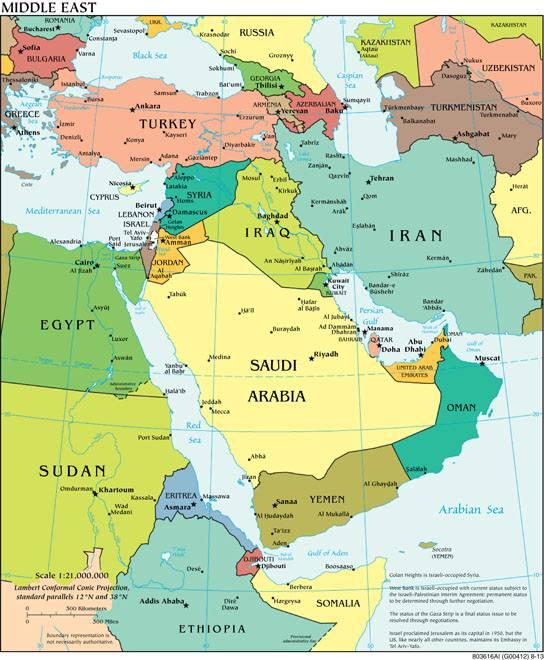 Carte du Moyen Orient (Proche Orient)   Découvrir la région en cartes