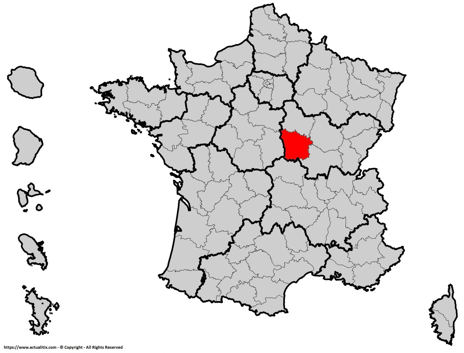 Nièvre sur une carte de France