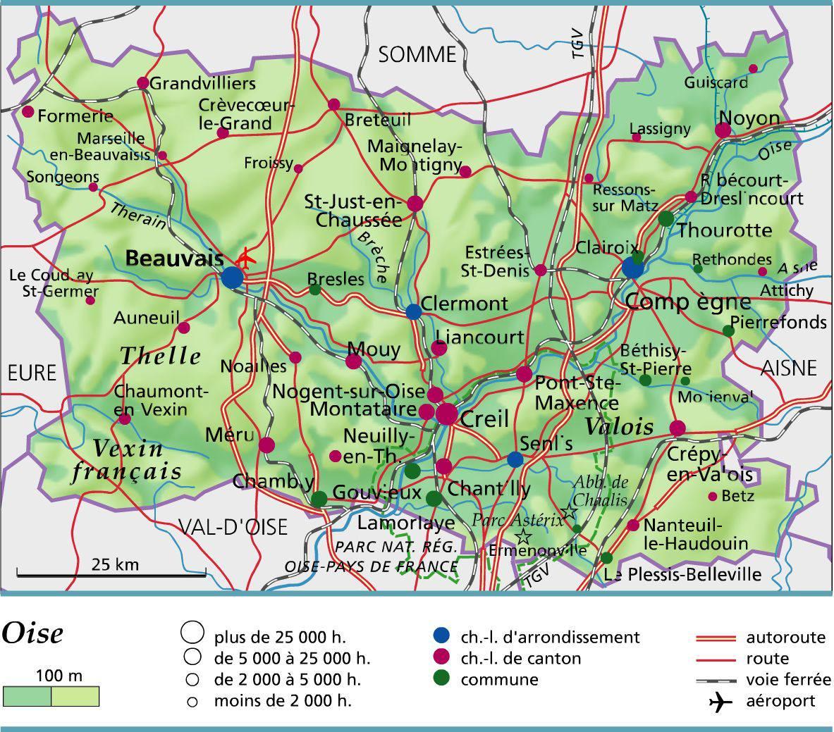 Carte De Loise Avec Ville.Carte De L Oise Oise Carte Du Departement 60 Villes
