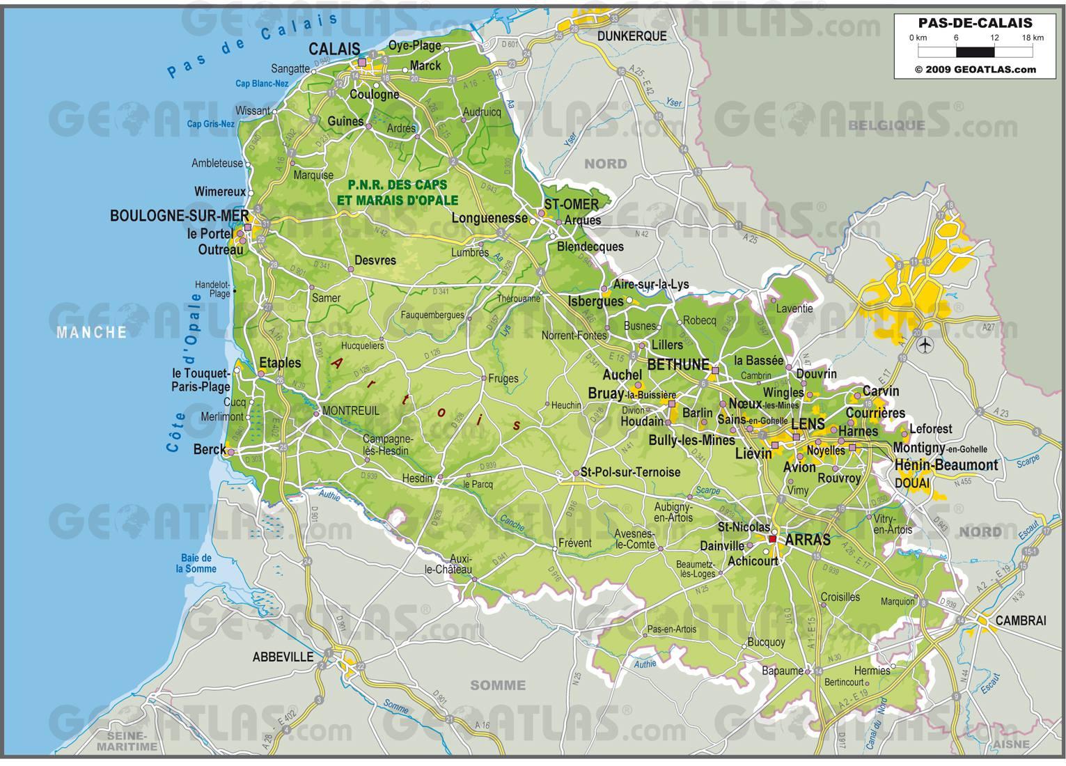 Carte Du Pas De Calais Avec Villes Et Villages