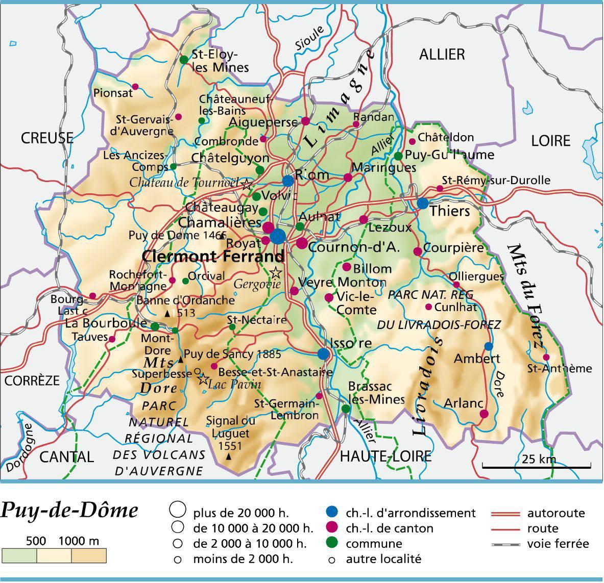 Carte du Puy de Dôme   Puy de Dôme carte du département 63