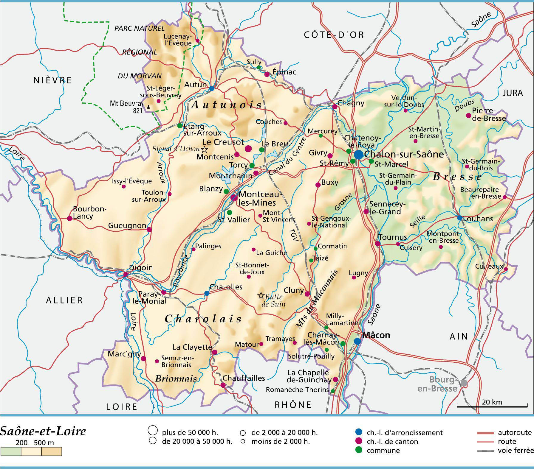 Saône-et-Loire carte
