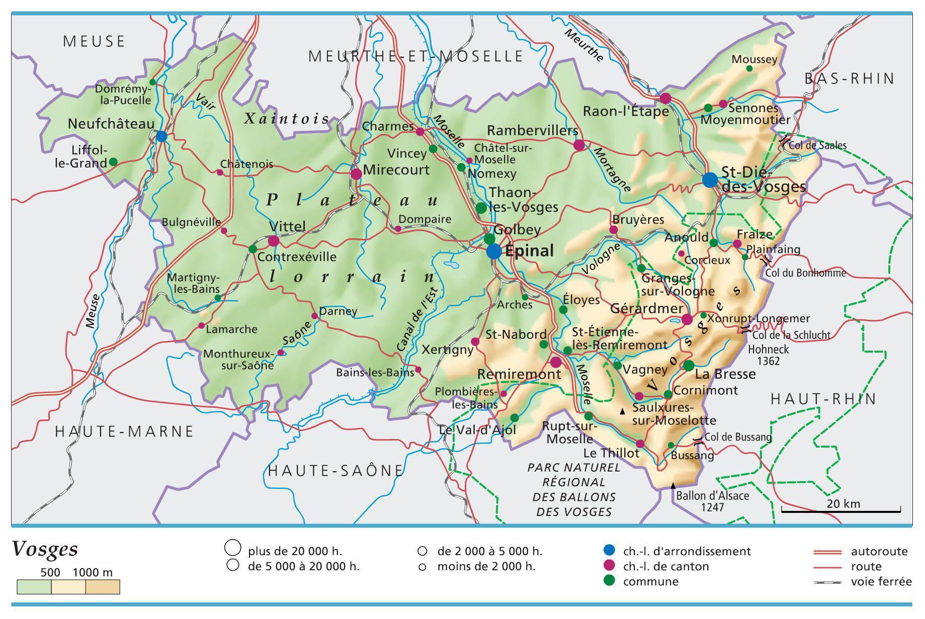 Carte des Vosges   Vosges carte du département 88   villes
