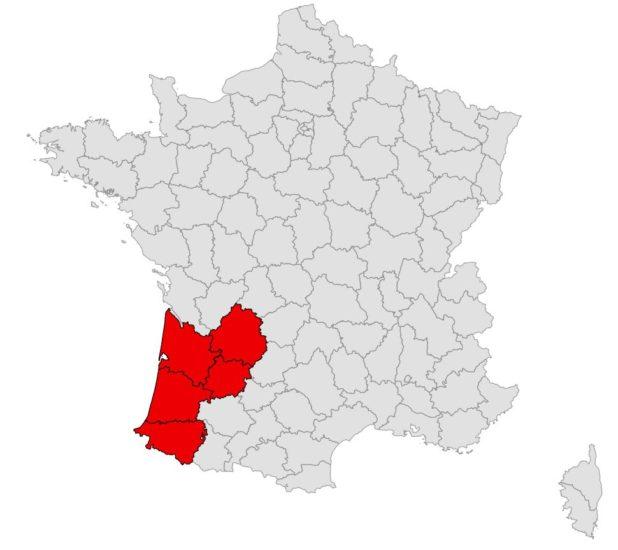 Aquitaine sur une carte de France