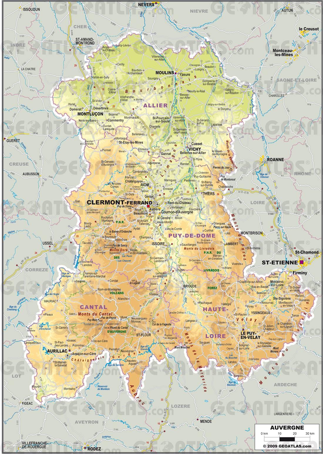 Auvergne carte