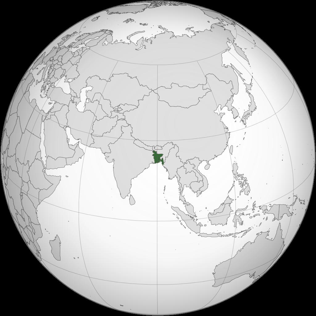 Bangladesh sur une carte de l'Asie
