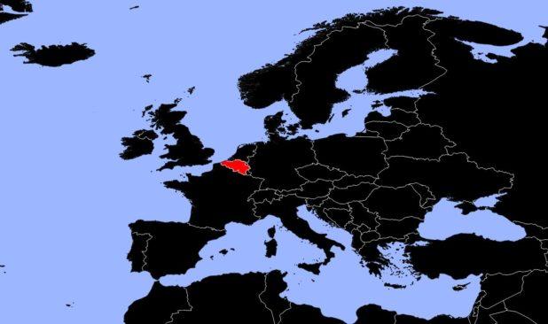 Belgique sur une carte d'Europe