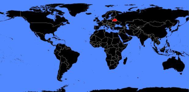 Biélorussie sur une carte du monde