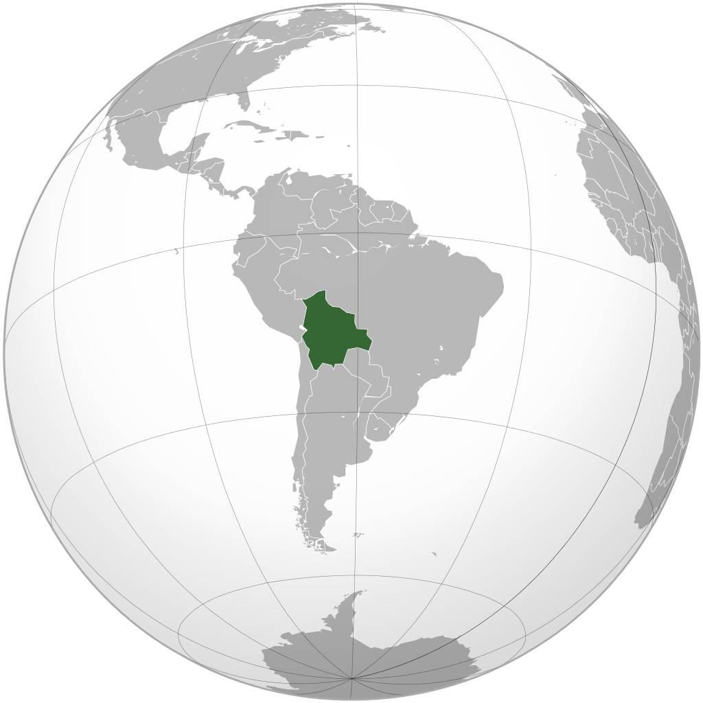 Bolivie sur la carte de l'Amérique-du-Sud