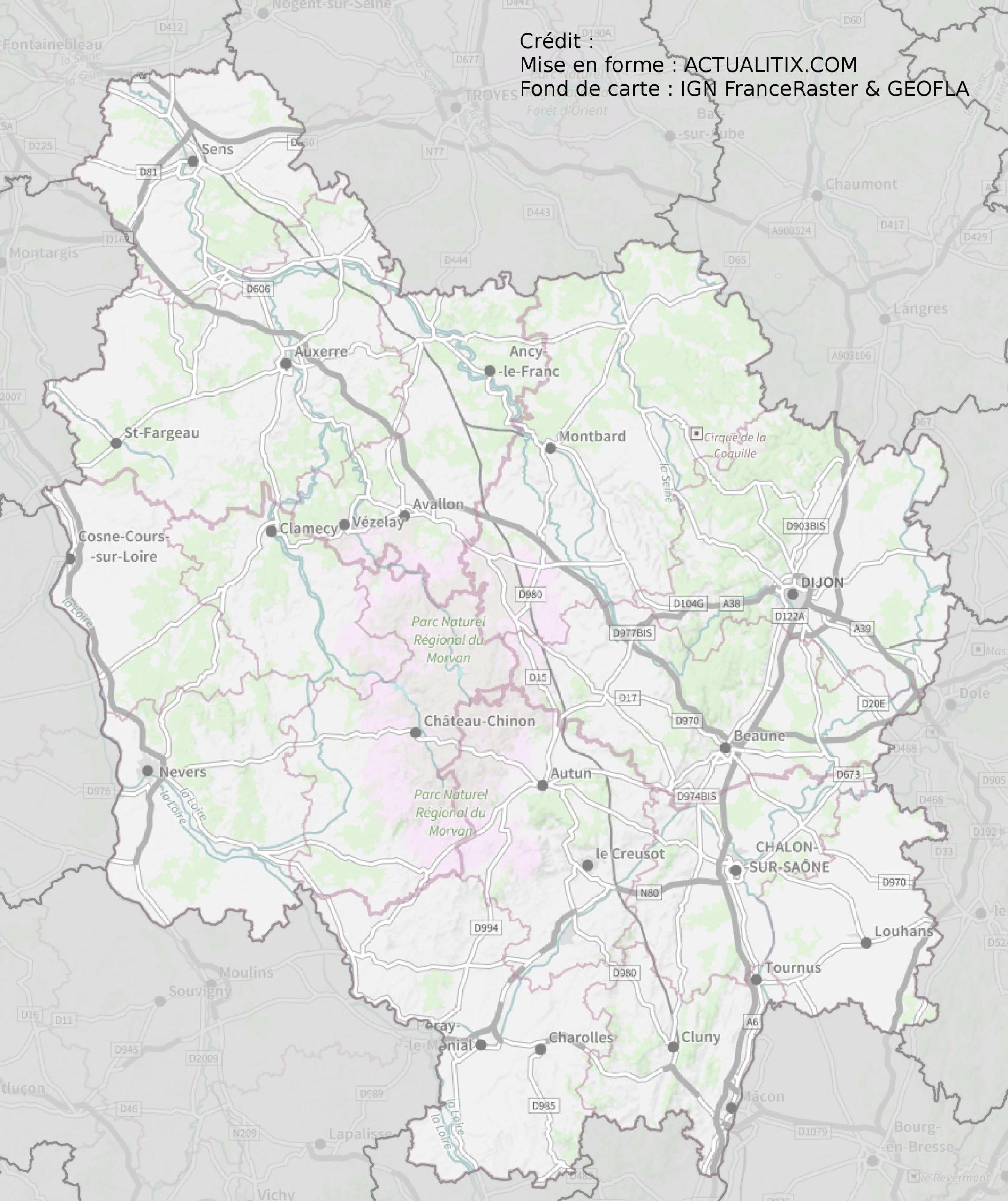 Carte de la Bourgogne - Découvrir la région avec des cartes