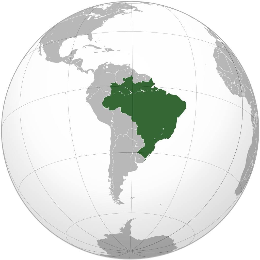 Brésil sur la carte de l'Amérique-du-Sud