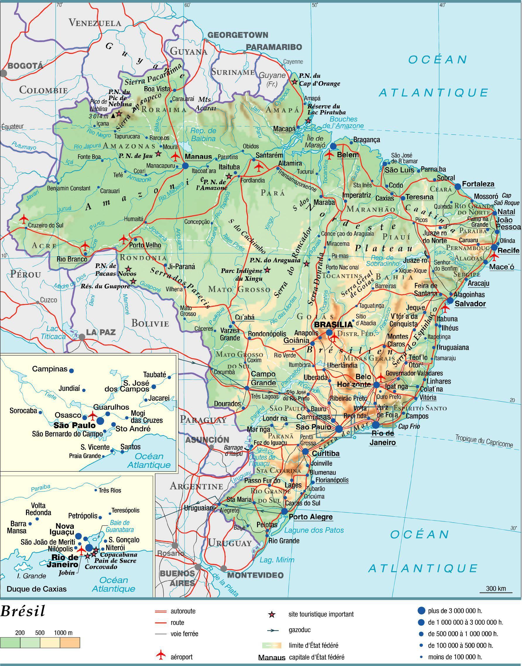 Carte De La Bresil.Carte Du Bresil Plusieurs Cartes Du Pays En Amerique Du Sud