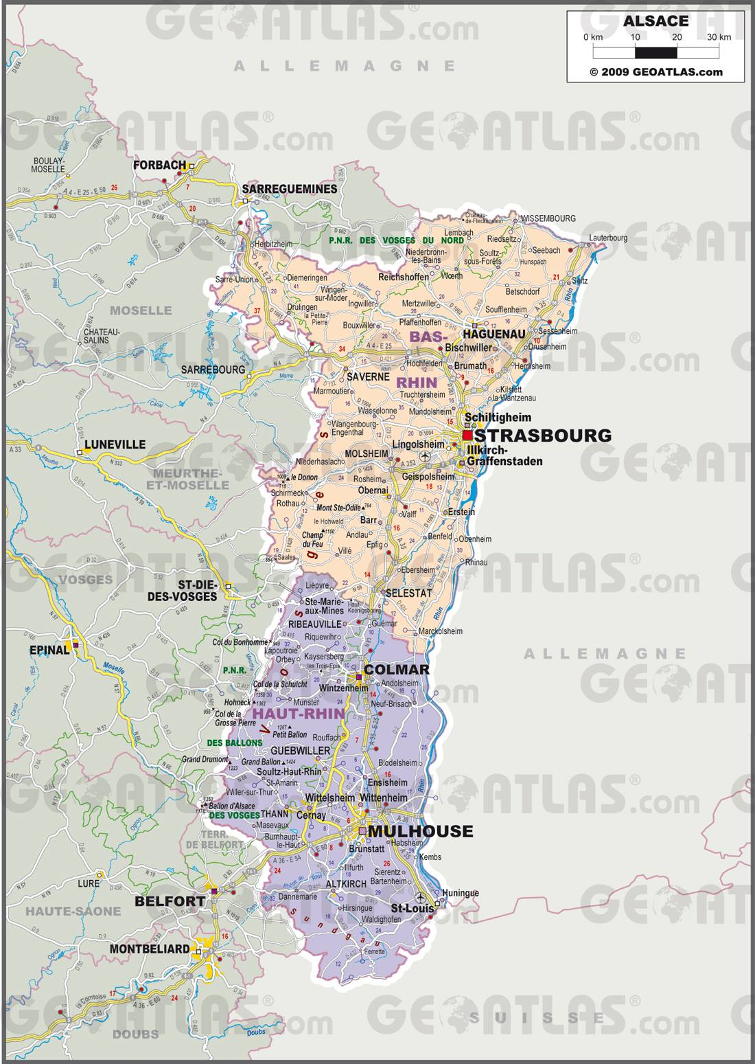 Carte administrative de l'Alsace