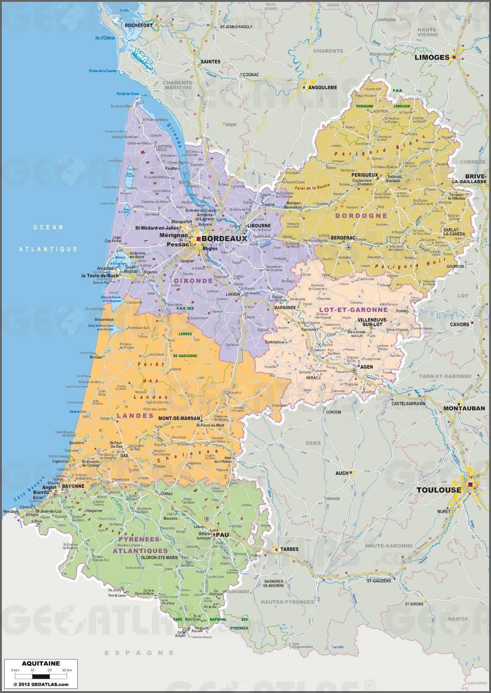 Carte administrative de l'Aquitaine