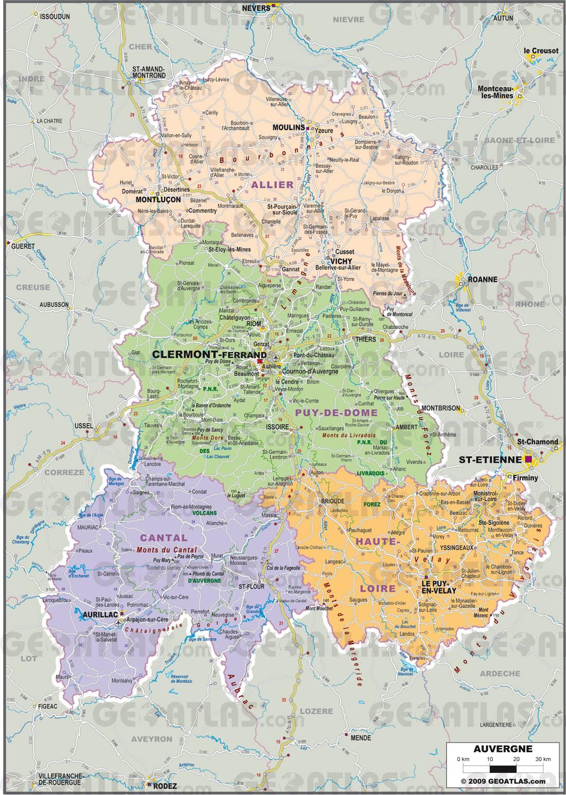 Carte administrative de l'Auvergne