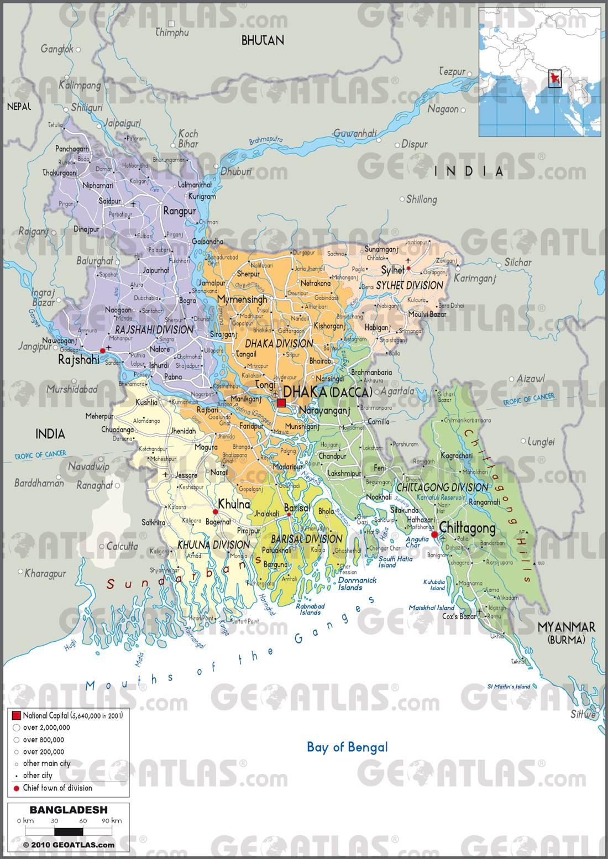 Carte administrative du Bangladesh